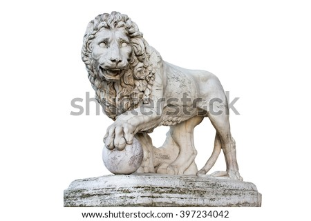 Famous Medici Lion statue by Vacca (1598). Sculpted of marble and located on Piazza della Signoria in Florence, Italy. Isolated on a white. Concepts could include art, history, power, culture, others. - stock photo
