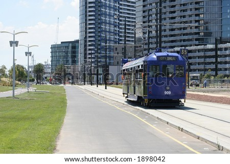 Famous Melbourne's City Circle tram (CBD, Melbourne, Australia) - stock photo