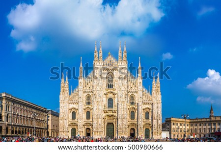 Famous Milan Cathedral, Duomo in a beautiful summer day, Italy.