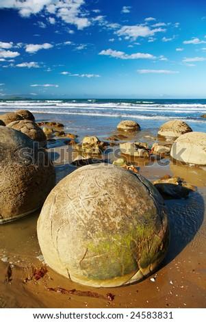 Famous Moeraki Boulders, New Zealand - stock photo