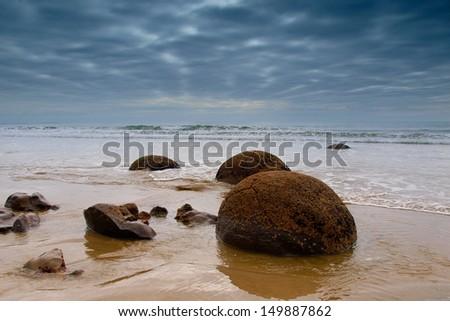 Famous Moeraki Boulders, South Island, New Zealand - stock photo