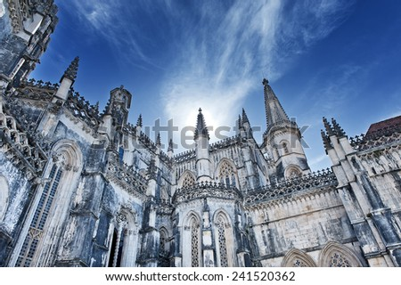 Famous monastery in Portugal. Batalha and monastery were founded by King D. Joao I of Portugal to pay homage to the Portuguese victory at the Battle of Aljubarrota. - stock photo