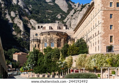 Famous Montserrat monastery near Barcelona Spain front view. - stock photo