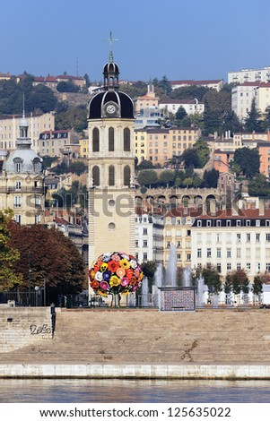famous monument in front of the Rhone River, Lyon - stock photo