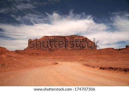 Famous Monument Valley, desert canyon in Utah, USA - stock photo
