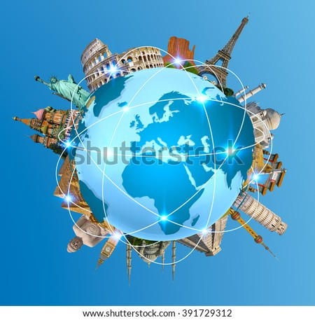 Famous monuments of the world grouped together on planet Earth - stock photo