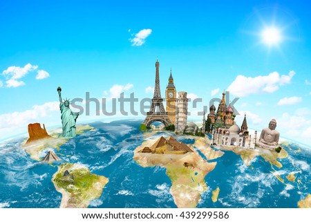 Famous monuments of the world grouped together on planet Earth 'elements of this image furnished by NASA' - stock photo