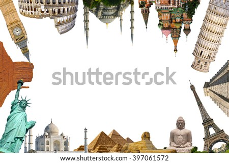Famous monuments of the world grouped together on white background - stock photo