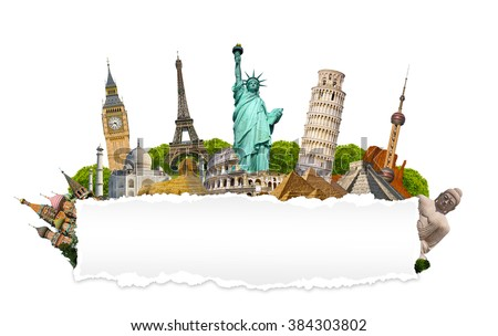 Famous monuments of the world grouped together with blank torn paper on white background - stock photo