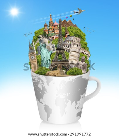 Famous monuments of the world in a cup of coffee - stock photo