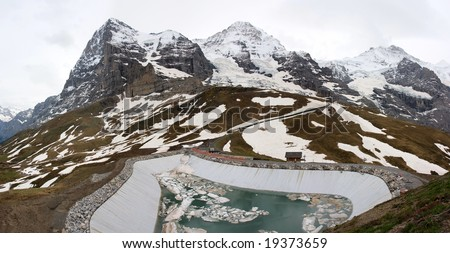 Famous mountain peaks: Eiger, Moench and Jungfrau in Grindelwald, Switzerland