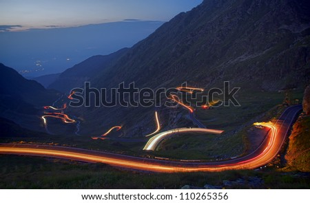 famous mountain road in night, Romanian Carpathians, Transfagarasan