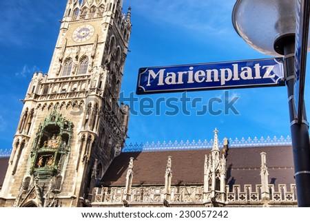 famous munich city hall at the marienplatz - germany - bavaria - stock photo