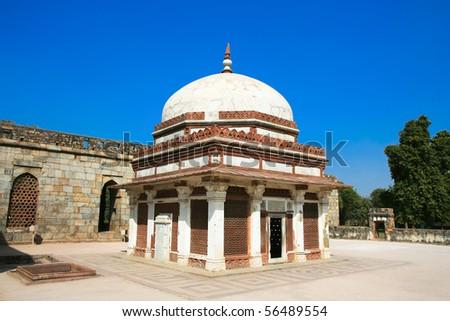 Famous muslim Column, Qutb Minar,near New Delhi, India. - stock photo