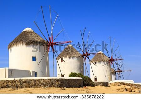 Famous Mykonos Windmills, Cyclades, Greece, Europe - stock photo