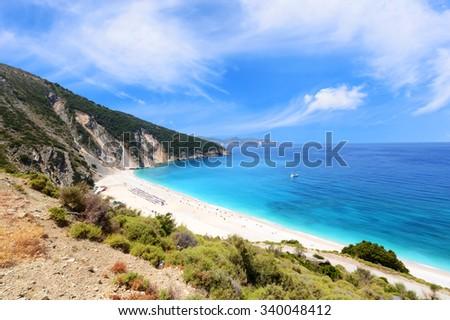 Famous Myrtos beach in Cephalonia island. Greece. - stock photo