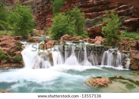 Famous natural landmark Havasupai, the indian reserve. Arizona. USA - stock photo