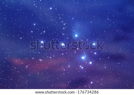 Famous nebula in zodiac constellation of the Bull. - stock photo