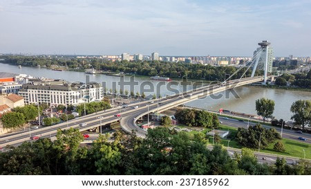 Famous New Bridge (Novy most) in Slovakia across the river Danube - stock photo