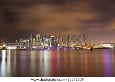 Famous Night Scene - Downtown Miami Florida - stock photo