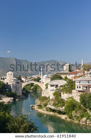 Famous Old Bridge in Mostar, Bosnia and Herzegovina - stock photo