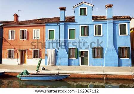 famous old town of burano in italy - near venice