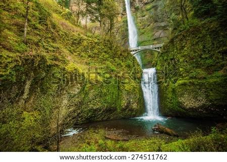 Famous Oregon Multnomah Falls near Portland, Oregon, United States. Waterfalls  in Columbia River Gorge Area. - stock photo