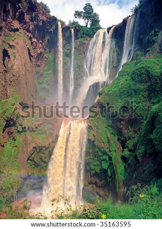 Famous Ouzoud waterfall in Morocco Atlas highland