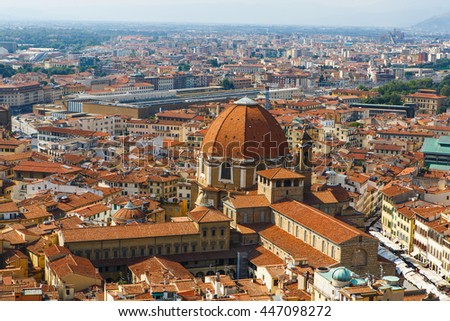 Famous Panoramic view of Florence, Tuscany, Italy. Florence is a popular tourist destination of Europe. - stock photo