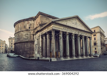 famous Pantheon in Rome, Italy, Europe, vintage filtered style - stock photo