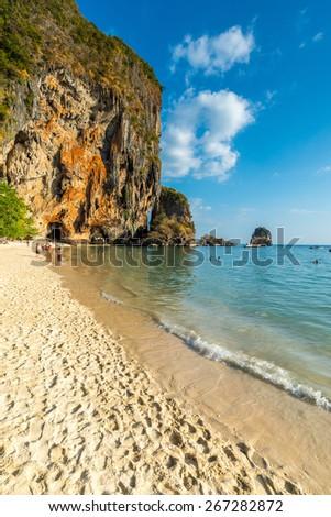 Famous Phranang cave at South Raylay Railay Beach, Krabi : Thailand  - stock photo