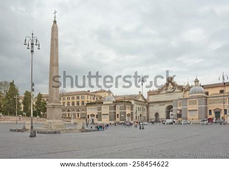 Famous Piazza del Popolo in Rome, Italy - stock photo