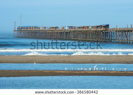 Famous pier at Pimentel. Peru, South America