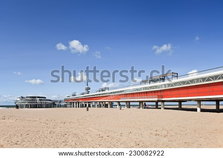 Famous Pier at the seashore of The Hague, The Netherlands - stock photo