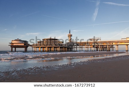 Famous Pier at the sunset in The Hague, The Netherlands - stock photo