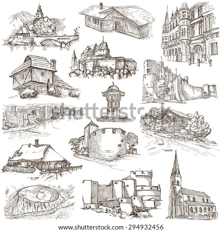 Famous Places and ARCHITECTURE around the World - Collection of an hand drawn illustrations (pack no.19). Description: Full sized hand drawn illustrations drawing on white.