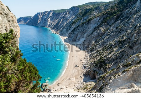 Famous Platia Ammos beach in Kefalonia island, Greece. The beach was affected by the earthquake in the spring of 2014 and it is very difficult to go down on the beach. - stock photo