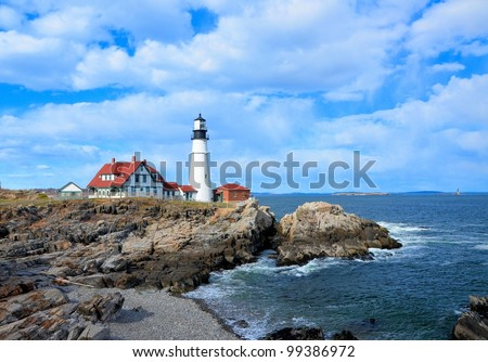Famous portland headlight lighthouse off the coast of maine - stock photo