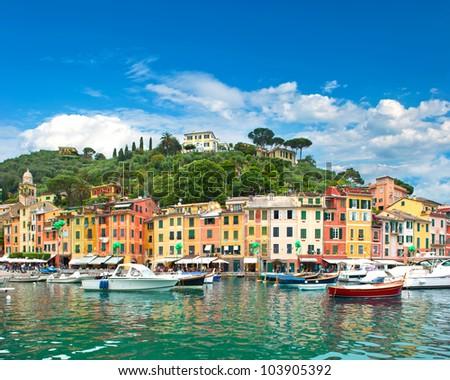 famous Portofino village on Ligurian coast, Italy - stock photo