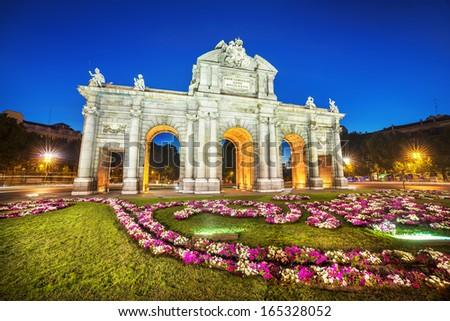 Famous Puerta de Alcala, Madrid,  cibeles district, Spain - stock photo