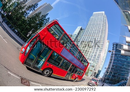 Famous Red Double Decker Bus in Canary Wharf District - stock photo
