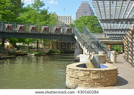 Famous Riverwalk in San Antonio city, Texas