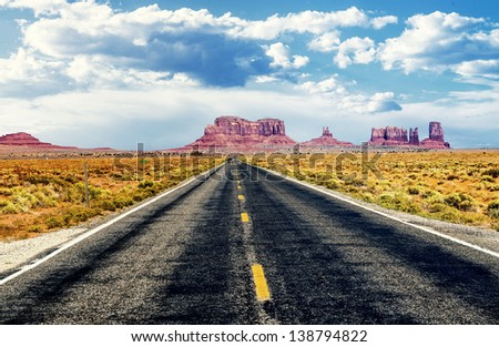 famous road in southwest of america near Monument Valley tribal park, USA - stock photo