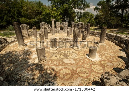 Famous Roman settlement located in archaeological city of Butrint in Albania