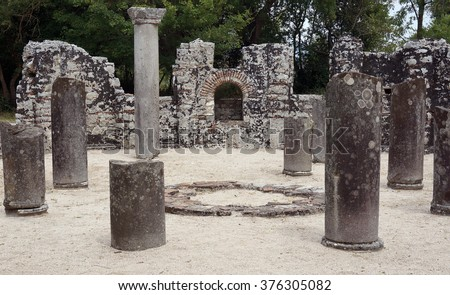 Famous Roman settlement located in archaeological city of Butrint in Albania - stock photo