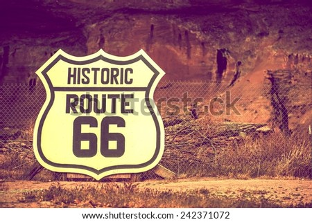 Famous Route 66 Large Crest Sign on the Fence. Arizona, United States. - stock photo