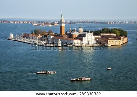Famous San Giorgio Maggiore island and church near San Marco, Venice, Italy, 2015 - stock photo
