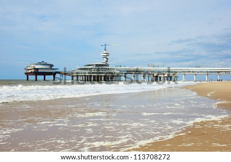 famous sea pier at The Hague, Holland - stock photo