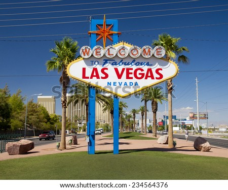 famous sign on Las Vegas Boulevard (Strip), Nevada, USA - stock photo