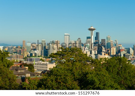 Famous skyline of Seattle, Washington, USA - stock photo